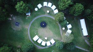 Der Zeltplatz von oben beim Pfingstlager